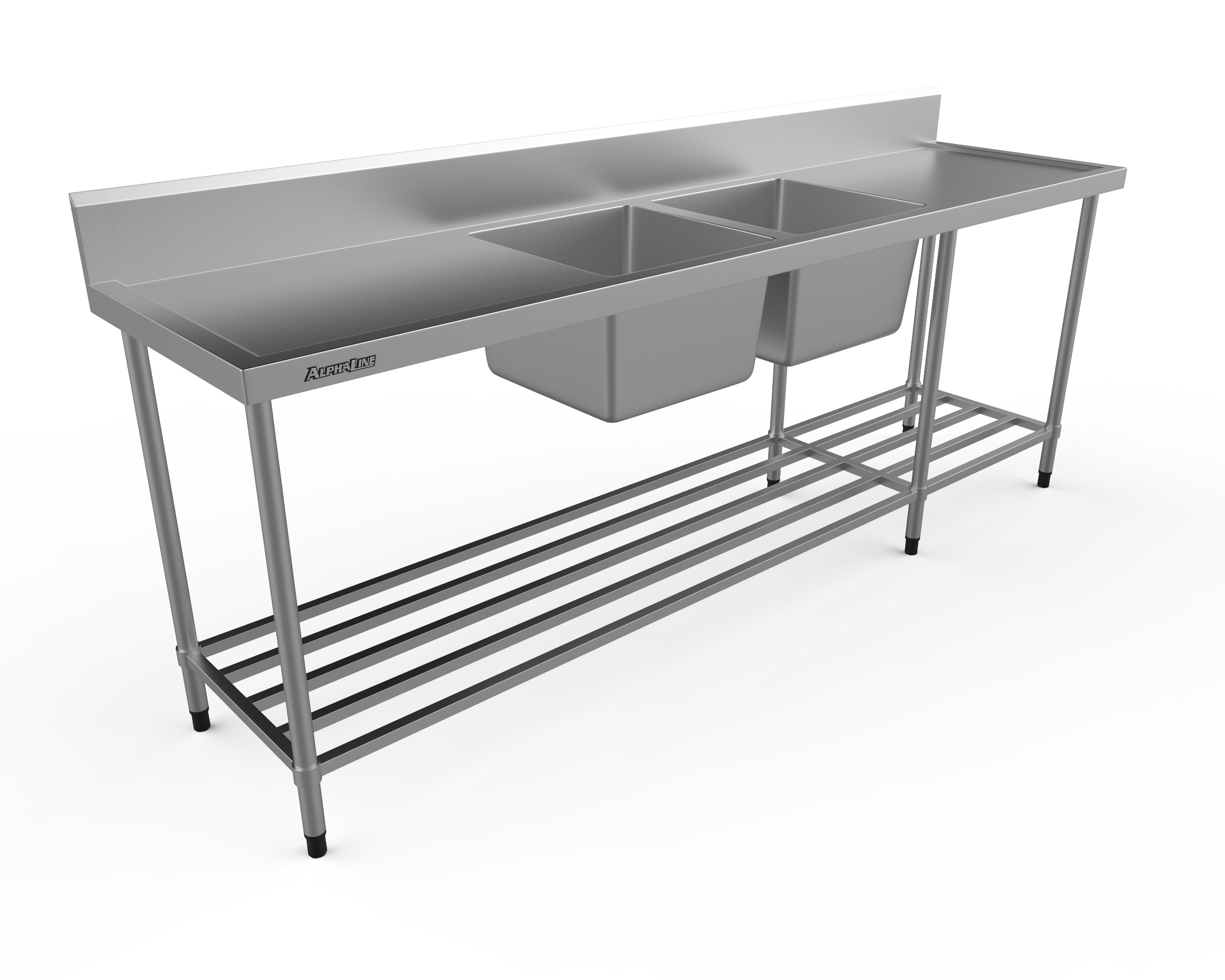 Stainless Steel Double Sink Bench, 2400 x 600 Centre Bowls - XS2-60240C