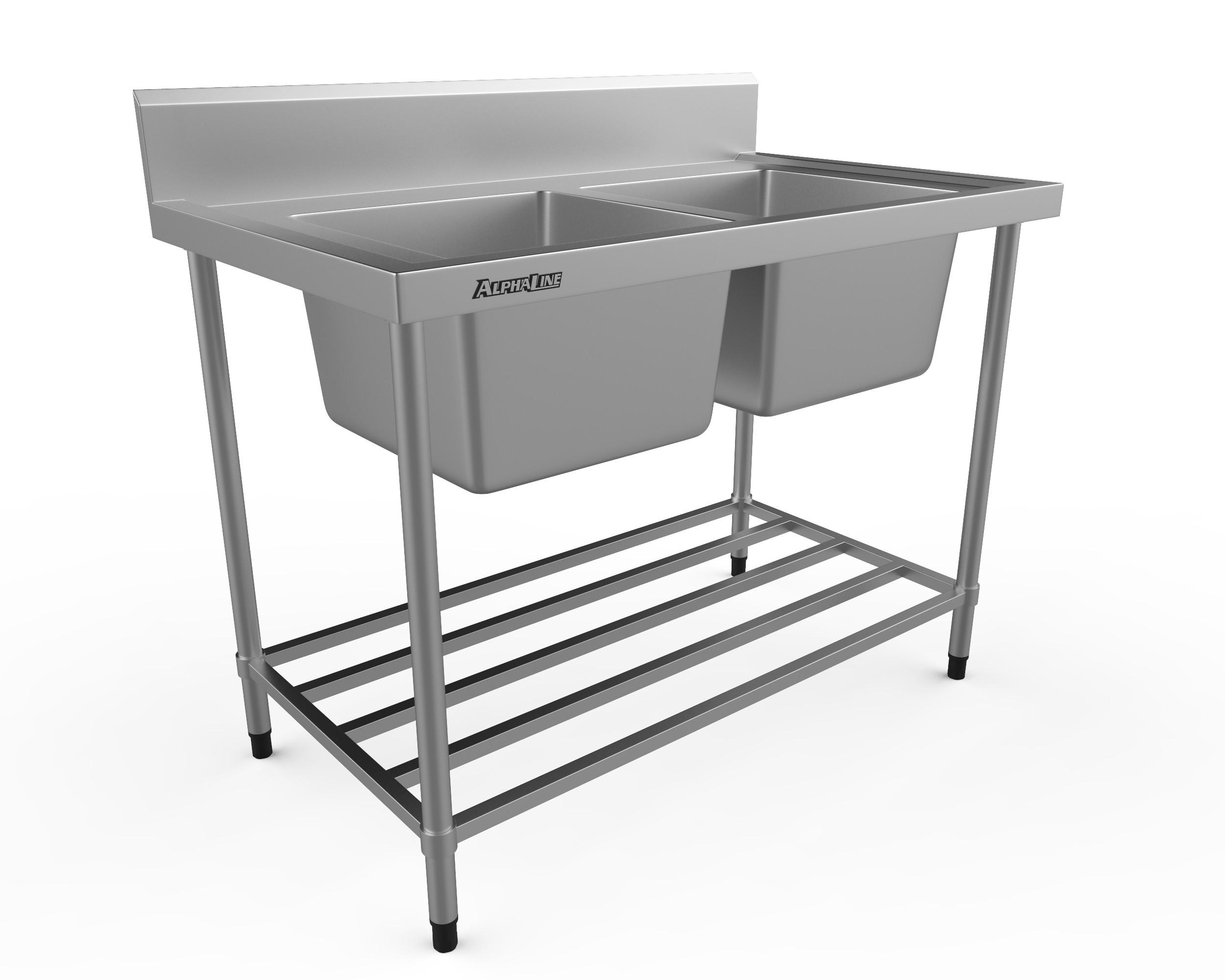 Stainless Steel Double Sink Bench - 1200 x 700 Centre bowls - XS2-70120C