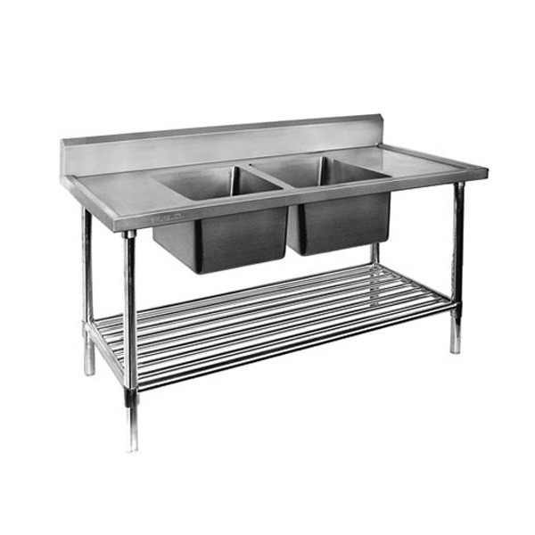 Stainless Steel Bench Double Centre Sinks-1800x700