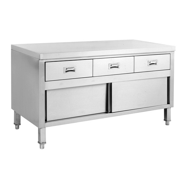Stainless Cabinet Work Bench With Doors & 3 Drawers