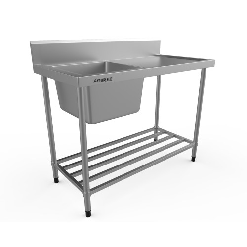 Stainless Steel Sink Bench - 1200 x 600 Left Bowl - XS1-60120L