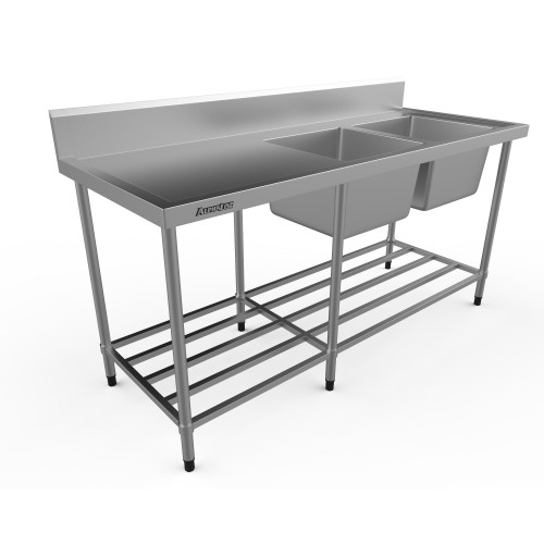 Stainless Steel Double Sink Bench - 1800 x 700 Right bowls - XS2-70180R