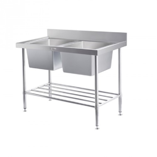 Simply Stainless SS06-6-2400 Double Sink Bench 2400x600