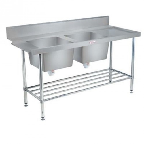 Simply Stainless SS09-6-1800-DB-R Double Bowl Inlet Bench 1800x600
