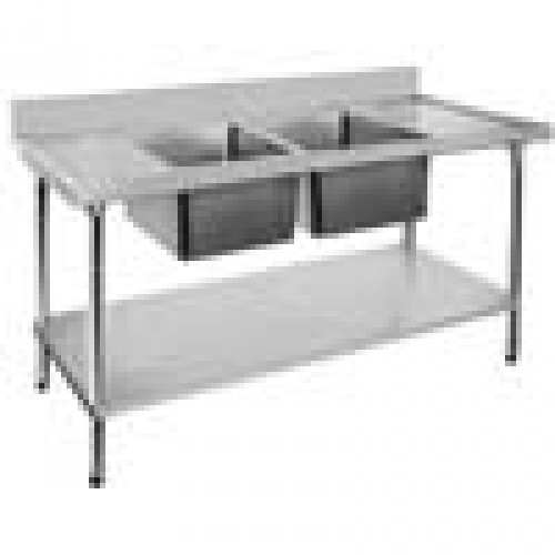 Economic Stainless Bench 2400X600, Centre Double Sink